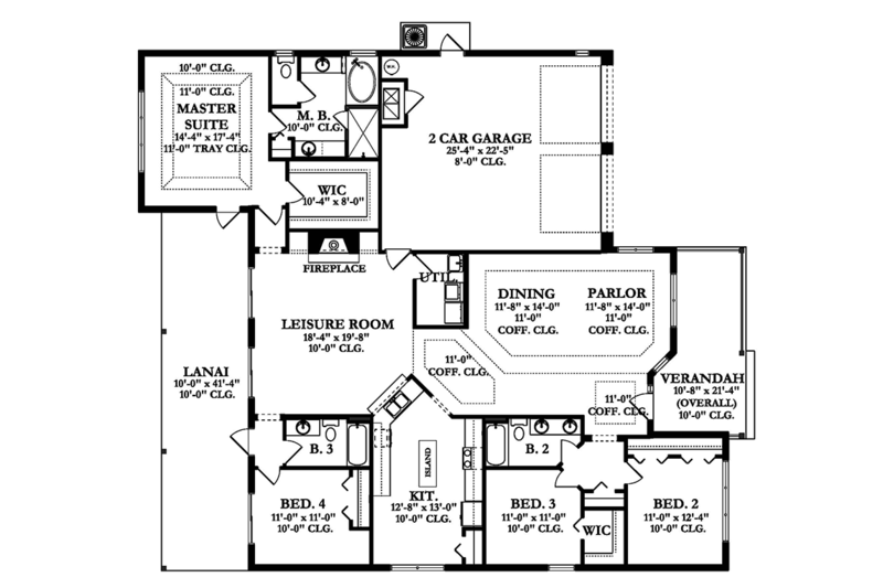 Colonial Floor Plan - Main Floor Plan Plan #1058-156