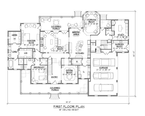 Country Floor Plan - Main Floor Plan #1054-73