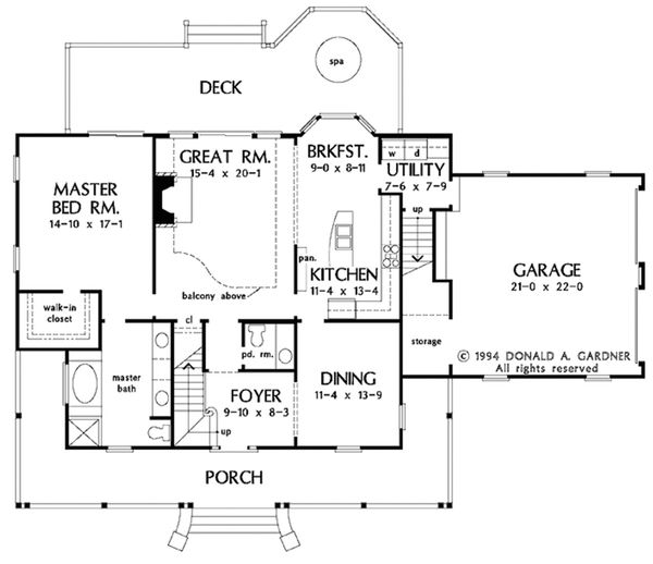 Country Style House Plan - 4 Beds 2.5 Baths 2164 Sq/Ft Plan #929-215 Floor Plan - Main Floor Plan