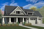 Craftsman Style House Plan - 4 Beds 3 Baths 2924 Sq/Ft Plan #920-5 Exterior - Front Elevation