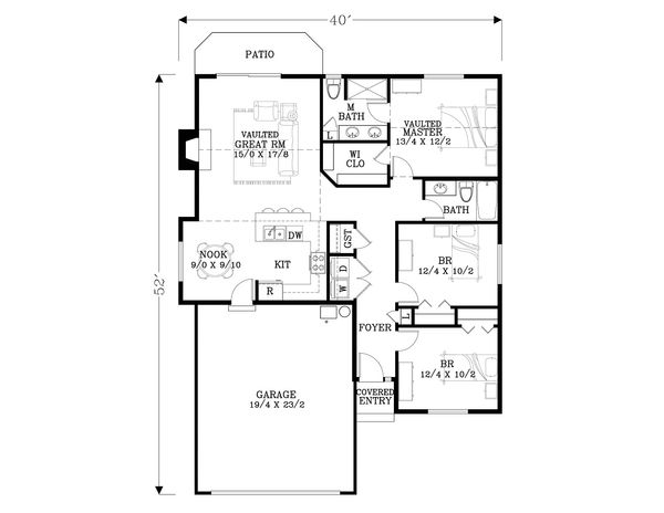 Craftsman Floor Plan - Main Floor Plan Plan #53-592