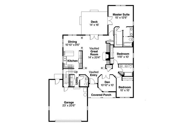 Ranch Floor Plan - Main Floor Plan Plan #124-1150