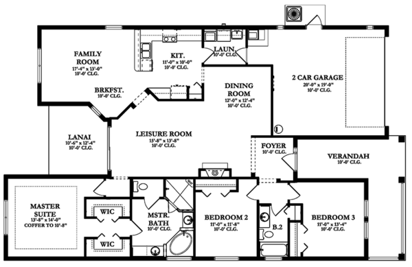 Colonial Floor Plan - Main Floor Plan Plan #1058-142
