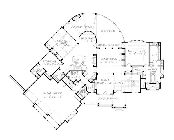 Craftsman Floor Plan - Main Floor Plan Plan #54-411