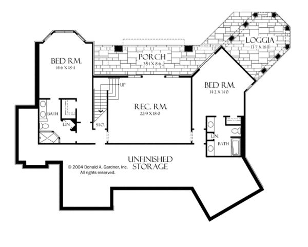 House Plan Design - Craftsman Floor Plan - Lower Floor Plan #929-932