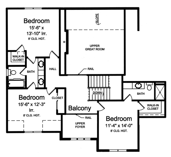 Traditional Floor Plan - Upper Floor Plan Plan #46-861