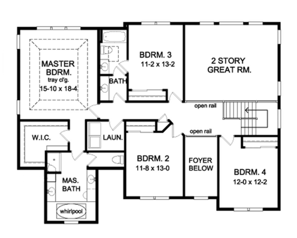 Architectural House Design - Colonial Floor Plan - Upper Floor Plan #1010-64