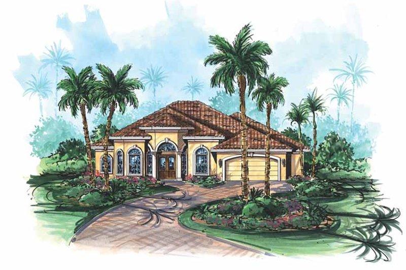 Architectural House Design - Mediterranean Exterior - Front Elevation Plan #1017-119
