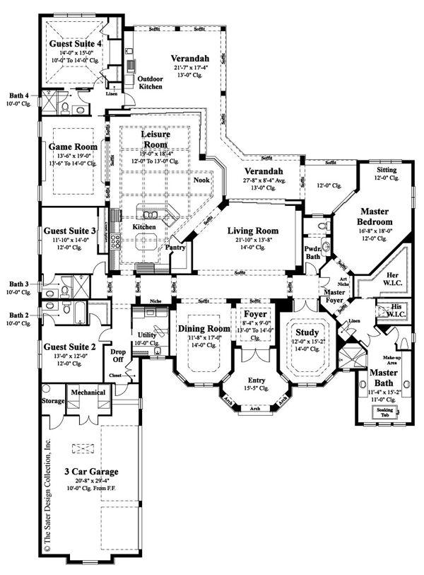 Mediterranean Floor Plan - Main Floor Plan Plan #930-508