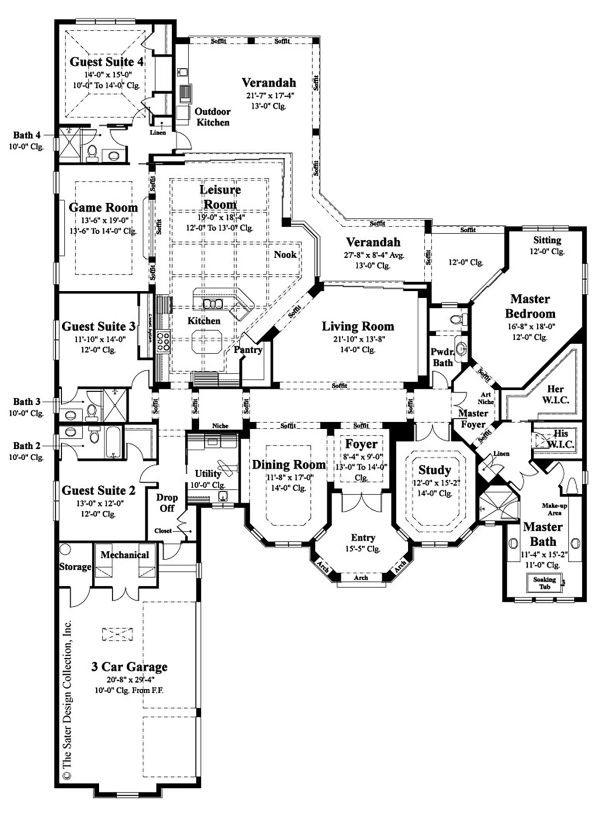 Dream House Plan - Mediterranean Floor Plan - Main Floor Plan #930-508