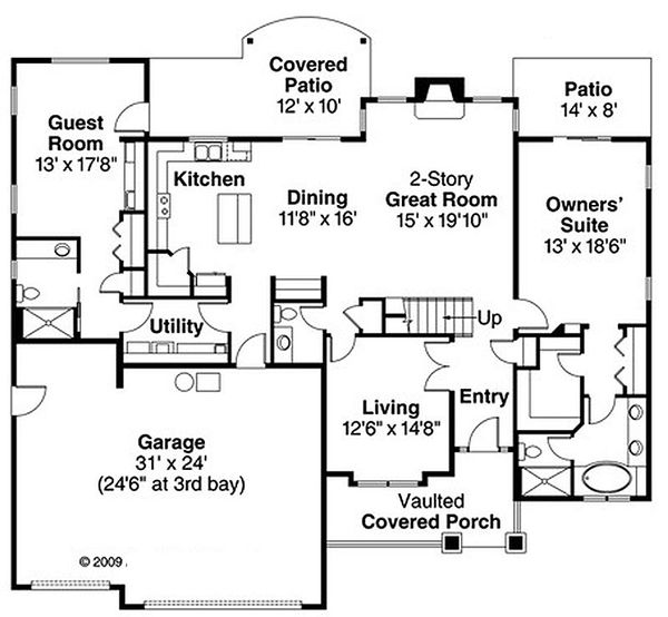 Craftsman Floor Plan - Main Floor Plan Plan #124-819