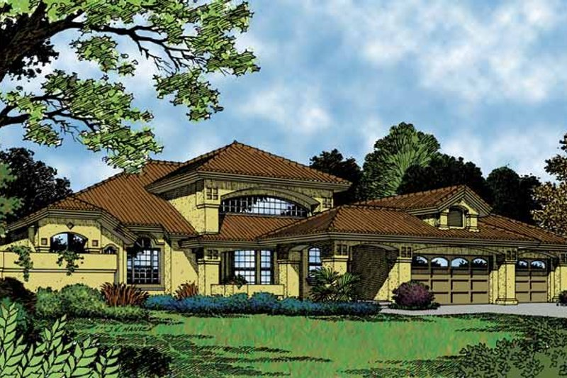 Mediterranean Exterior - Front Elevation Plan #417-548