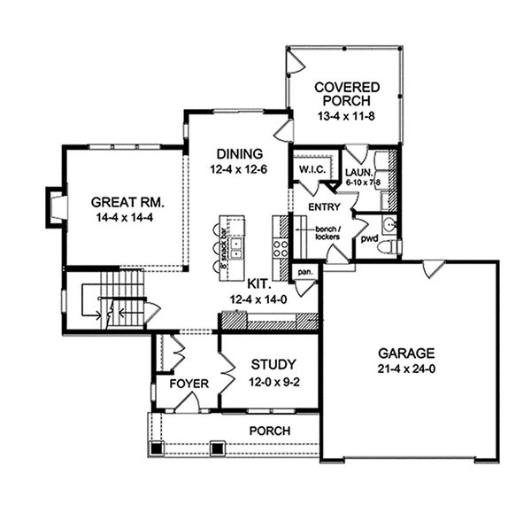 Traditional Floor Plan - Main Floor Plan Plan #1010-118