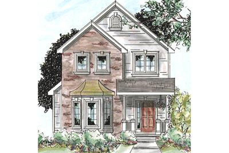 Traditional Style House Plan - 3 Beds 3 Baths 1706 Sq/Ft Plan #20-1704 Exterior - Front Elevation