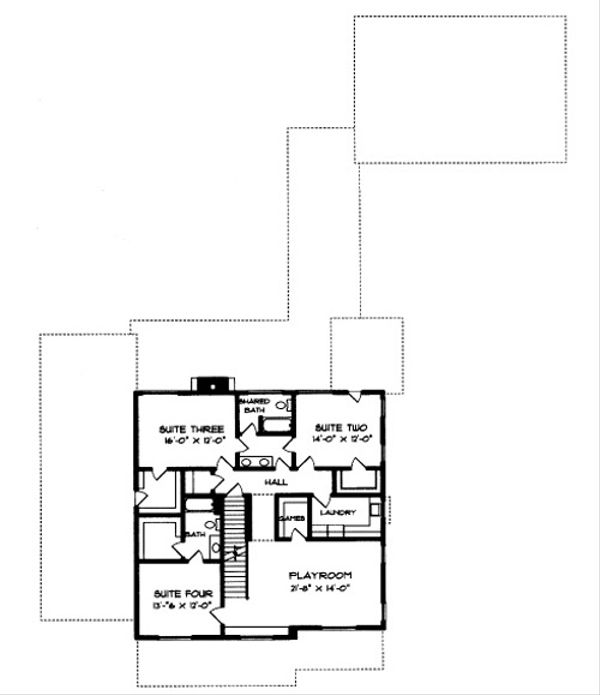 Craftsman Floor Plan - Upper Floor Plan Plan #413-117