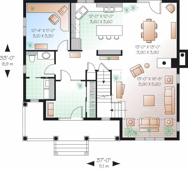Farmhouse Floor Plan - Main Floor Plan Plan #23-735