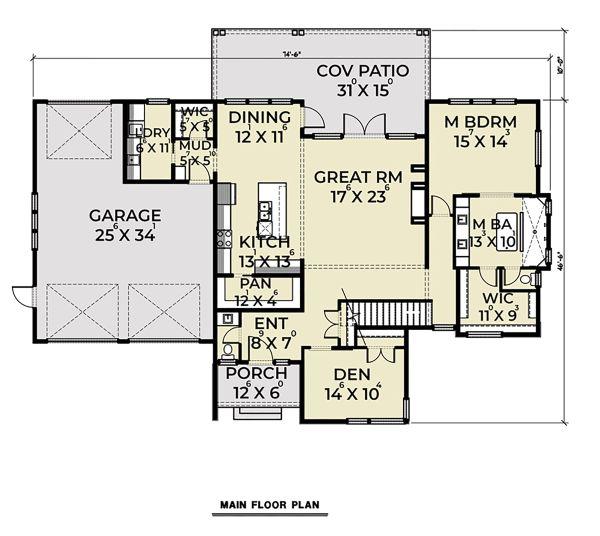 Contemporary Floor Plan - Main Floor Plan Plan #1070-44