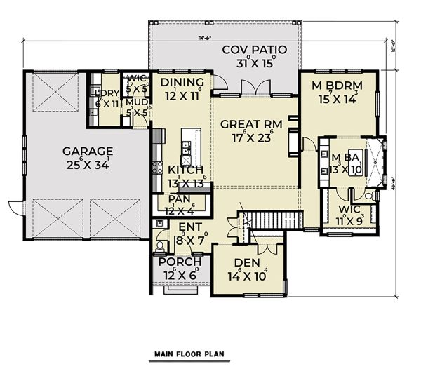 Contemporary Floor Plan - Main Floor Plan Plan #1070-44