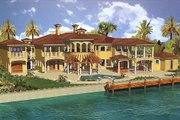 Mediterranean Style House Plan - 6 Beds 8 Baths 6904 Sq/Ft Plan #420-195 Exterior - Rear Elevation