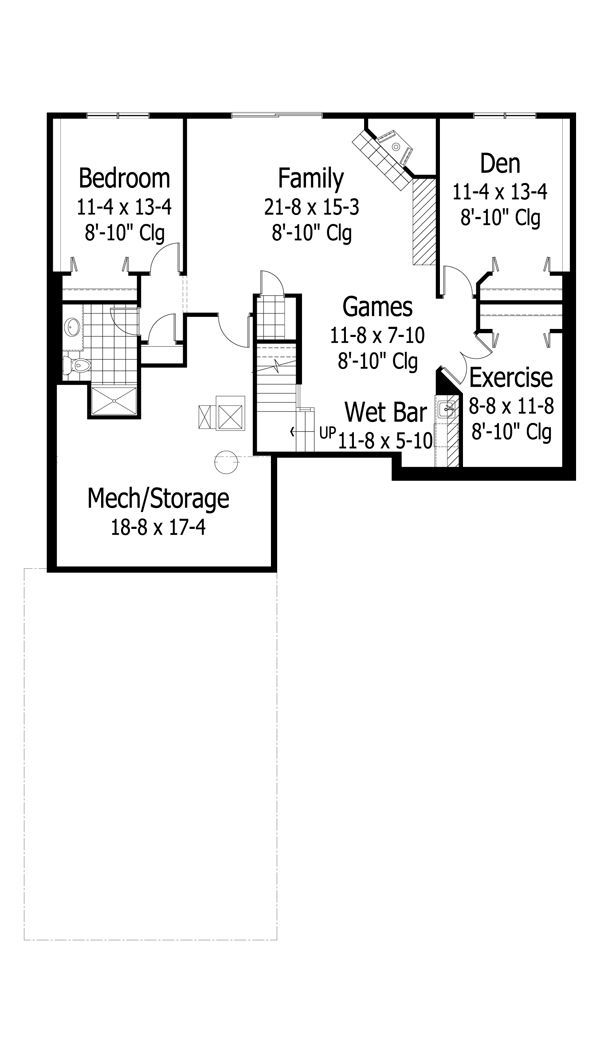 European Floor Plan - Lower Floor Plan Plan #51-432