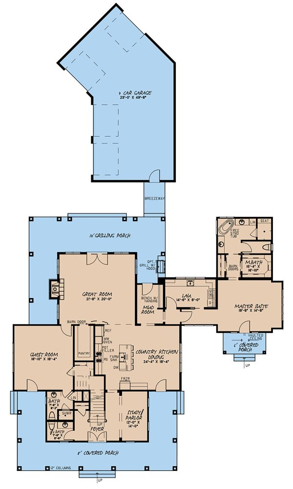 Country Floor Plan - Main Floor Plan Plan #923-134