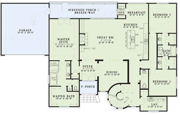 European Floor Plan - Main Floor Plan Plan #17-3402