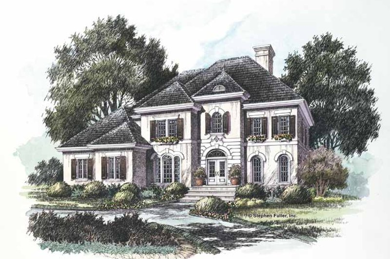 Adobe / Southwestern Exterior - Front Elevation Plan #429-204