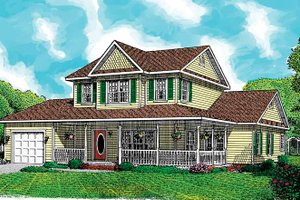 Country Exterior - Front Elevation Plan #11-244