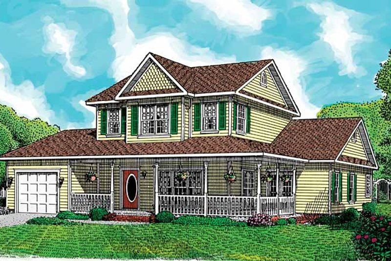 Country Exterior - Front Elevation Plan #11-244 - Houseplans.com