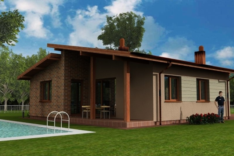 Modern Style House Plan - 3 Beds 1 Baths 1129 Sq/Ft Plan #538-13 Exterior - Front Elevation