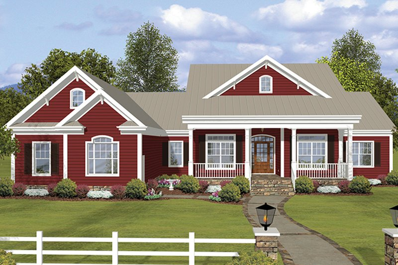 Dream House Plan - Ranch Exterior - Front Elevation Plan #56-696