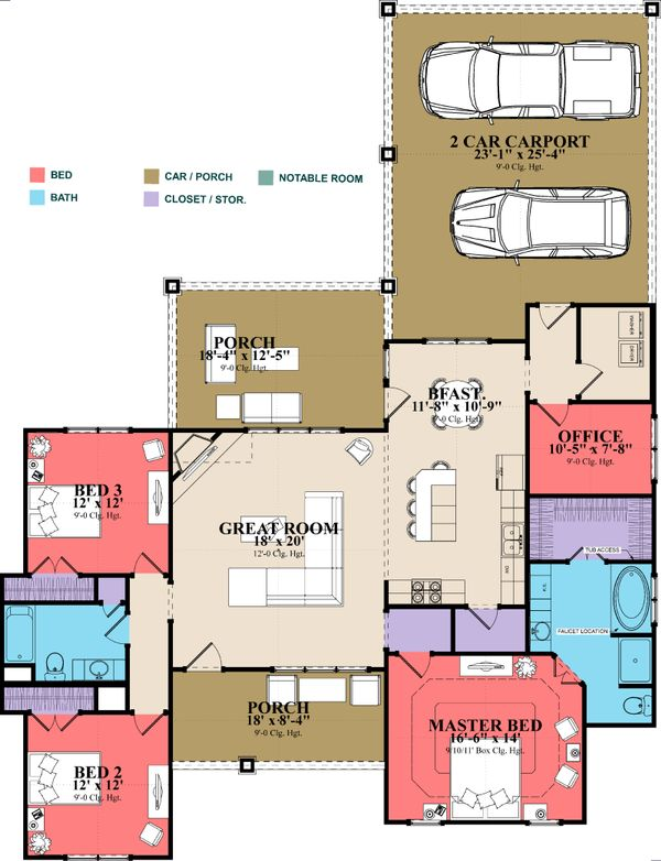 Traditional Floor Plan - Main Floor Plan Plan #63-410