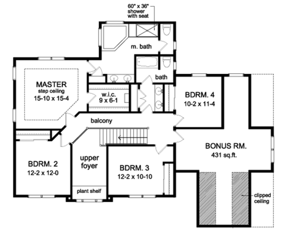 Country Floor Plan - Upper Floor Plan Plan #1010-91