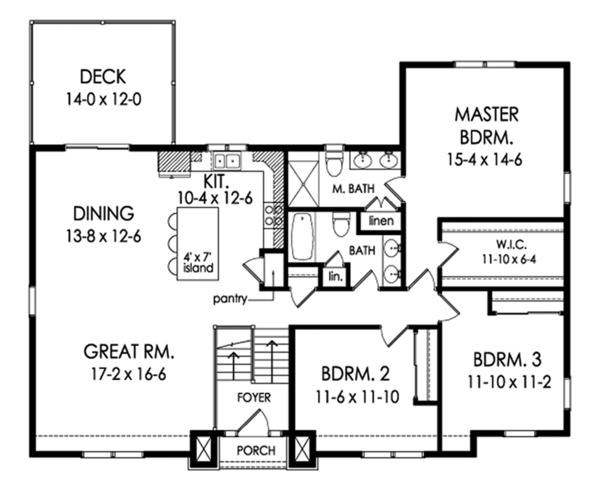 Contemporary Floor Plan - Main Floor Plan Plan #1010-203