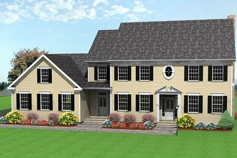 Colonial Style House Plan - 3 Beds 3 Baths 2863 Sq/Ft Plan #75-111 Exterior - Front Elevation