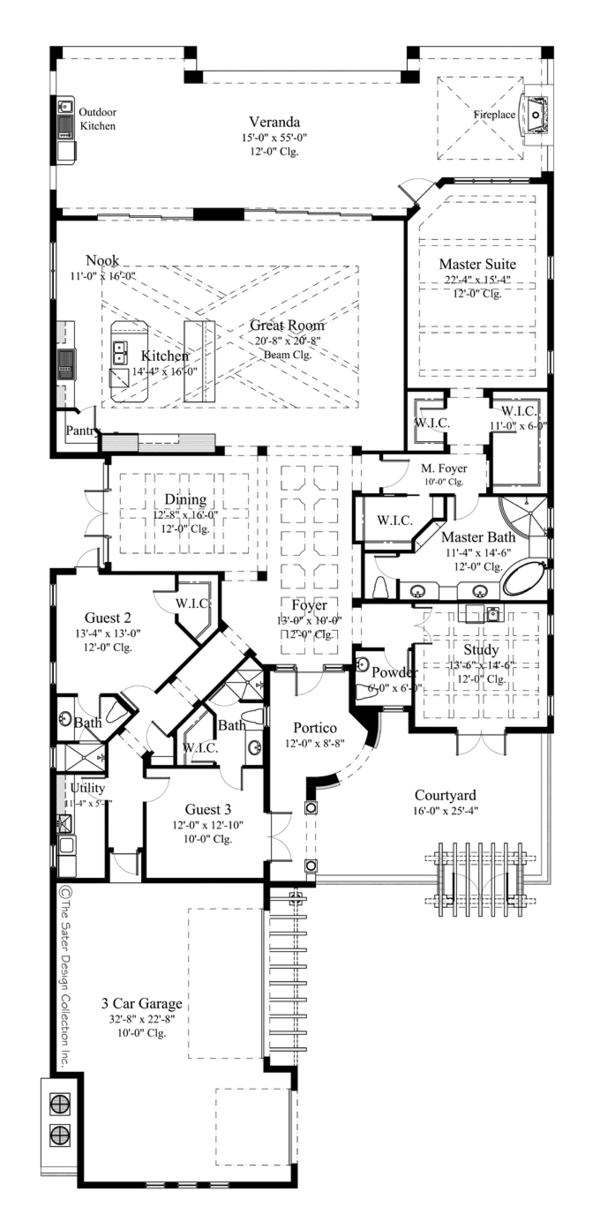 Mediterranean Floor Plan - Main Floor Plan Plan #930-444