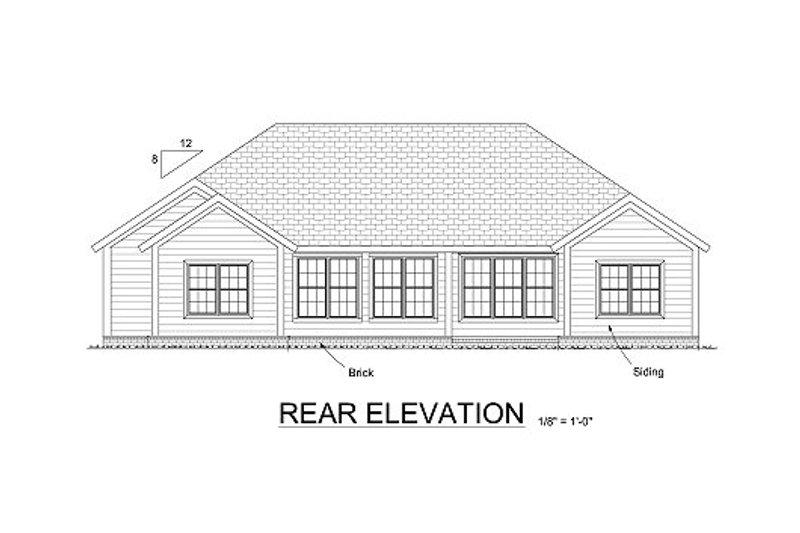 Ranch Exterior - Rear Elevation Plan #513-19 - Houseplans.com