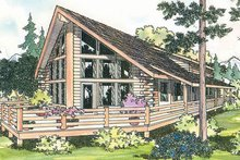 Cabin Exterior - Front Elevation Plan #124-263