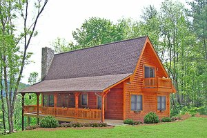 Log Exterior - Front Elevation Plan #456-3