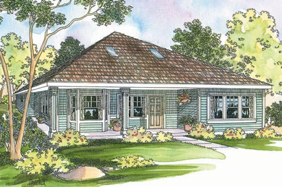 Cottage Exterior - Front Elevation Plan #124-364
