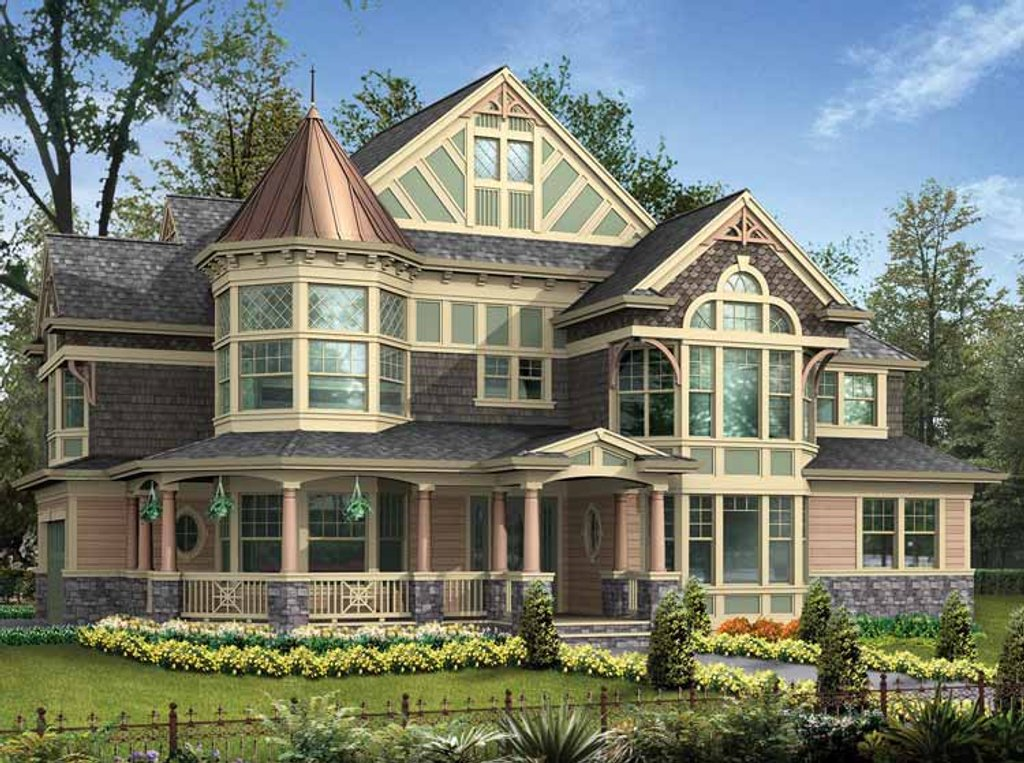Victorian style house plan 4 beds 3 5 baths 3965 sq ft for One story queen anne