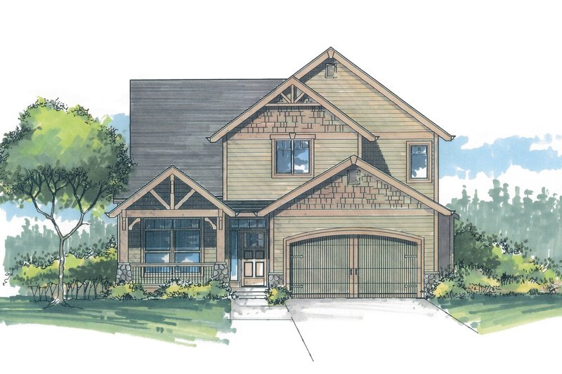 Craftsman Style House Plan - 3 Beds 2.5 Baths 1949 Sq/Ft Plan #53-466 Exterior - Front Elevation