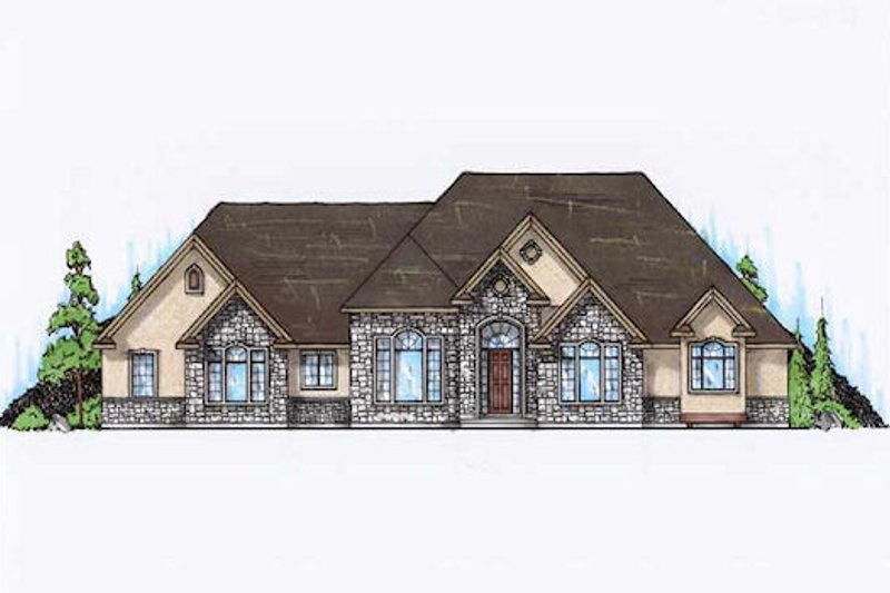 Traditional Style House Plan - 4 Beds 4 Baths 2891 Sq/Ft Plan #5-322 Exterior - Front Elevation