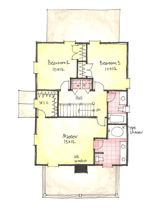 Colonial Floor Plan - Upper Floor Plan Plan #1053-37