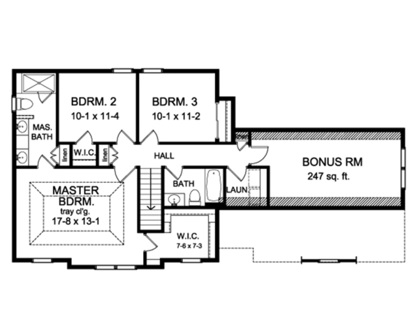 Colonial Floor Plan - Upper Floor Plan Plan #1010-191