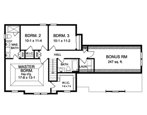 Colonial Floor Plan - Upper Floor Plan Plan #1010-191