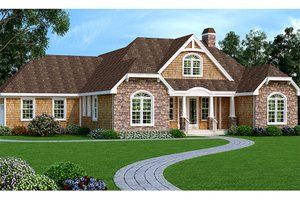 Dream House Plan - European Exterior - Front Elevation Plan #456-116