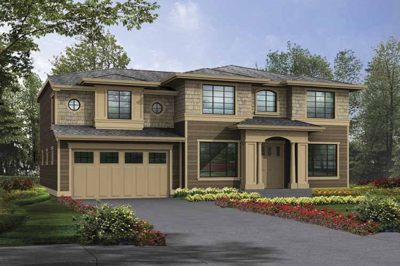 Prairie Exterior - Front Elevation Plan #132-382