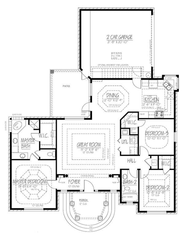 Mediterranean Floor Plan - Main Floor Plan Plan #1061-1