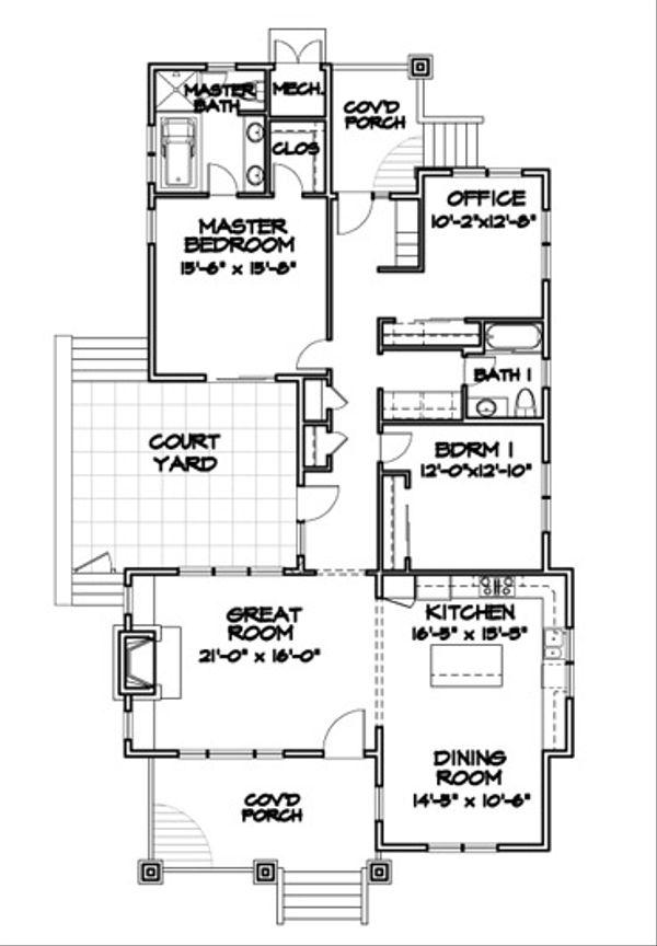 Bungalow Floor Plan - Main Floor Plan Plan #490-27